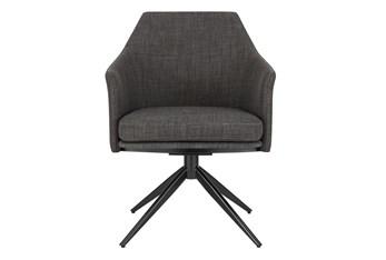 Wesler Charcoal Swivel Armchair With Black Steel Base
