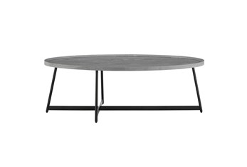 Weldon Grey 47 Inch Oval Coffee Table With Black Base