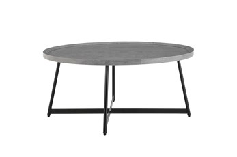 Weldon Grey 35 Inch Round Coffee Table With Black Base