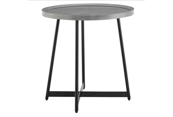 Weldon Grey Round End Table With Black Base