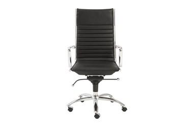 Copenhagen Black Faux Leather And Chrome High Back Desk Chair