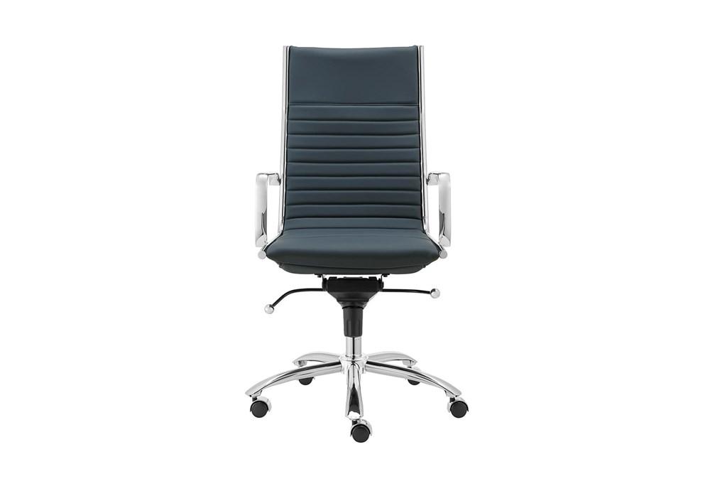 Copenhagen Blue Vegan Leather And Chrome High Back Desk Chair