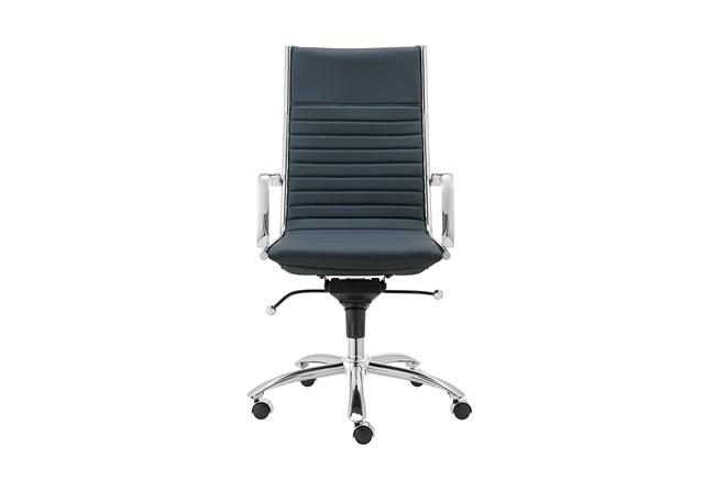 Copenhagen Blue Vegan Leather And Chrome High Back Desk Chair - 360