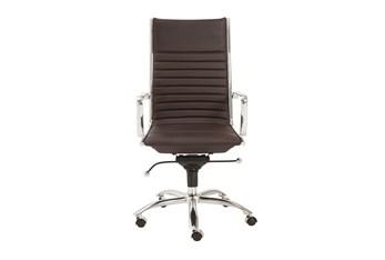 Copenhagen Brown Vegan Leather And Chrome High Back Desk Chair