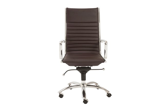Copenhagen Brown Faux Leather And Chrome High Back Desk Chair - 360