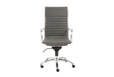 Copenhagen Grey Faux Leather And Chrome High Back Desk Chair