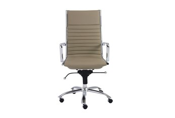 Copenhagen Taupe Vegan Leather And Chrome High Back Desk Chair