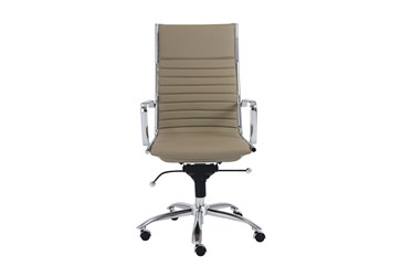 Copenhagen Taupe Faux Leather And Chrome High Back Desk Chair