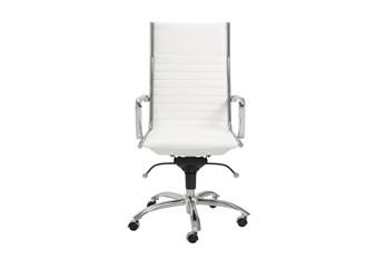Copenhagen White Vegan Leather And Chrome High Back Desk Chair