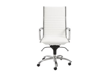 Copenhagen White Faux Leather And Chrome High Back Desk Chair