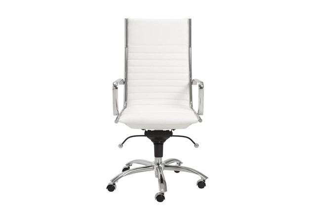 Copenhagen White Vegan Leather And Chrome High Back Desk Chair - 360