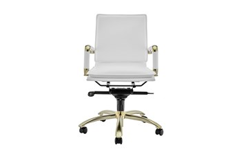 Skagen White Vegan Leather And Matte Brushed Gold Low Back Desk Chair