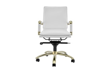 Skagen White Faux Leather And Matte Brushed Gold Low Back Desk Chair