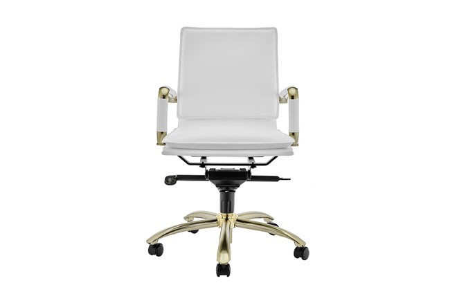 Skagen White Vegan Leather And Matte Brushed Gold Low Back Desk Chair - 360