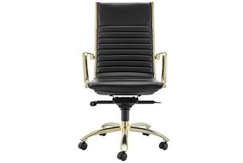 Copenhagen Black Vegan Leather And Matte Brushed Gold High Back Desk Chair