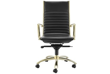 Copenhagen Black Faux Leather And Matte Brushed Gold High Back Desk Chair