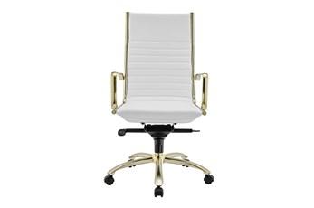Copenhagen White Vegan Leather And Matte Brushed Gold High Back Desk Chair