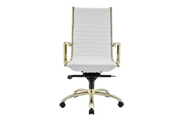 Copenhagen White Faux Leather And Matte Brushed Gold High Back Desk Chair
