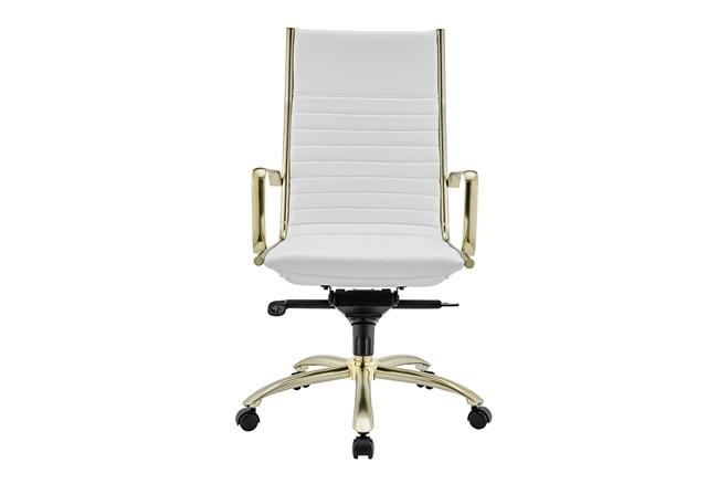 Copenhagen White Vegan Leather And Matte Brushed Gold High Back Desk Chair - 360
