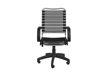 Oslo Black And Aluminum High Back Bungee Desk Chair