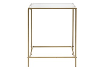 Zola Glass End Table With Brass Base