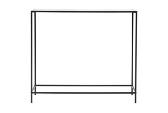 """Zola Glass 36"""" Console Table With Black Base"""