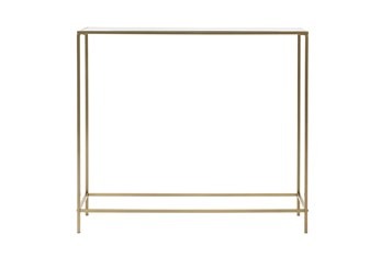 """Zola Glass 36"""" Console Table With Brass Base"""