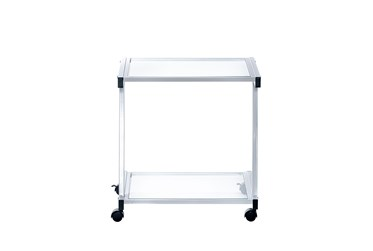 Reyes White Rolling Printer Cart With Clear Glass