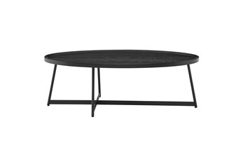 Weldon Black Ash 47 Inch Oval Coffee Table With Black Base