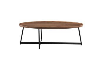 Weldon Walnut 47 Inch Oval Coffee Table With Black Base