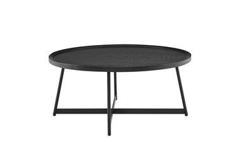 Weldon Black Ash 35 Inch Round Coffee Table With Black Base