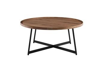 Weldon Walnut 35 Inch Round Coffee Table With Black Base