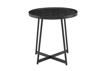 Weldon Black Ash Round End Table With Black Base