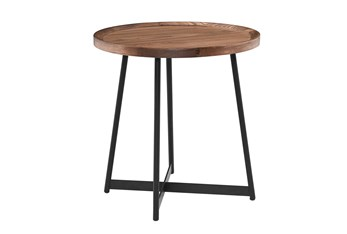 Weldon Walnut Round End Table With Black Base