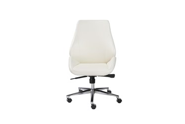 Viborg White Faux Leather And Chrome Low Back Armless Desk Chair
