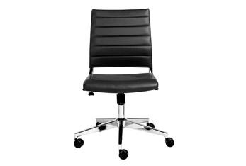 Hornslet Black Vegan Leather Low Back Armless Desk Chair