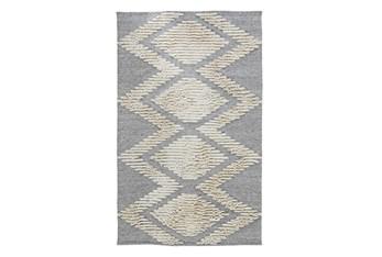 2'X3' Outdoor Rug- Gray Geometric Shag