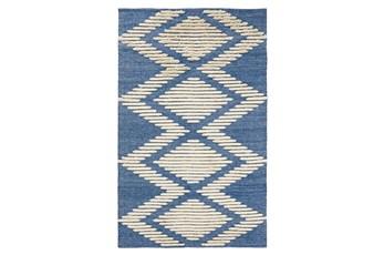 5'X8' Outdoor Rug- Blue Geometric Shag