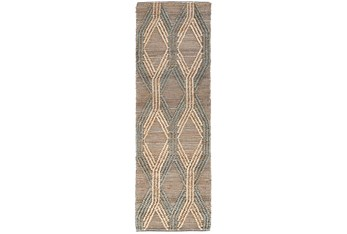 """2'6""""X8' Rug- Natural And Mineral Blue Exaggerated Geometric"""