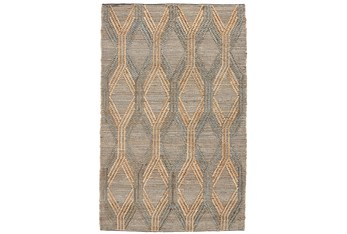9'X12' Rug- Natural And Mineral Blue Exaggerated Geometric
