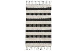 2'X3' Rug- Black And Ivory Shag With Braided Tassels