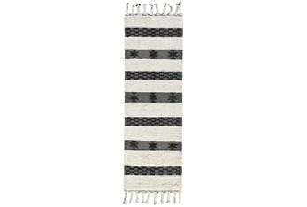 "2'6""X8' Rug- Black And Ivory Shag With Braided Tassels"