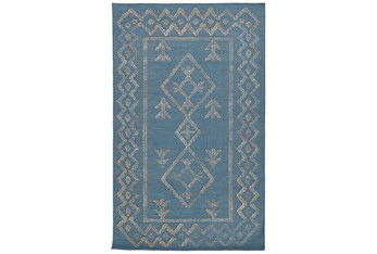 8'X10' Rug- Tribal Blue And Natural With Border