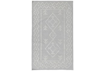 2'X3' Rug- Tribal Gray And Ivory With Border