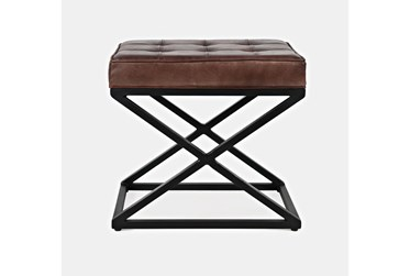 Atworth Cognac Small Leather Ottoman