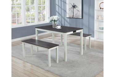 Drew 3 Piece Dining Table And Bench Set With Usb And Power Outlets