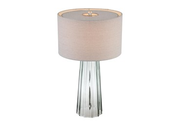 29 Inch Glass Table Lamp With Fabric Shade