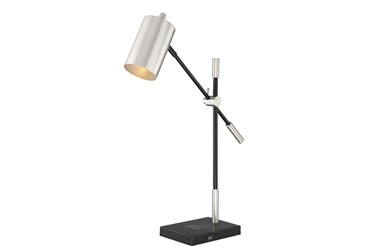 28 Inch Black/Silver Task Lamp With Wireless Charging Pad