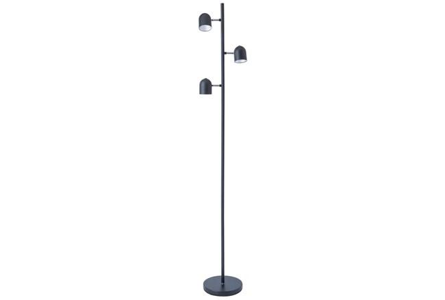 63 Inch Black/Chrome Led 3-Lite Task Floor Lamp - 360