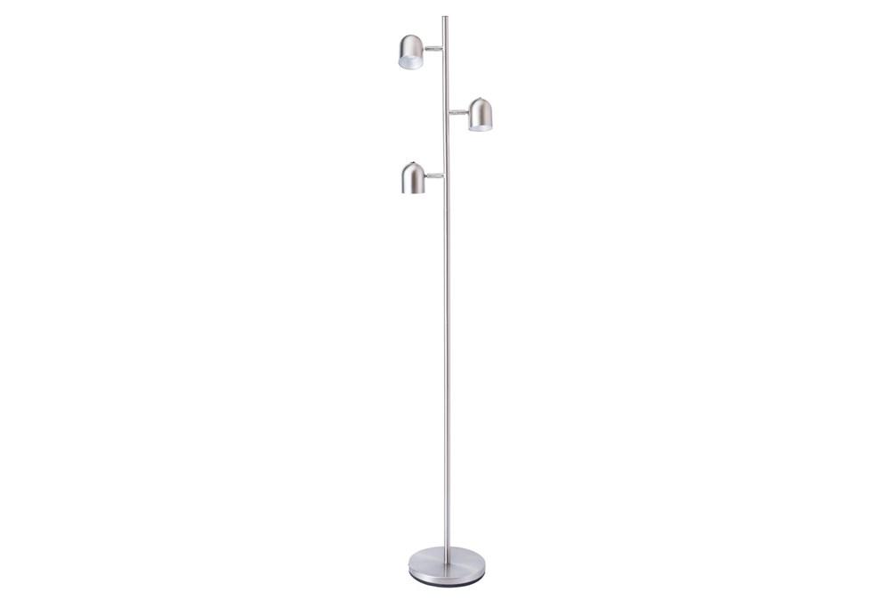 63 Inch Brushed Nickel Led 3-Lite Task Floor Lamp